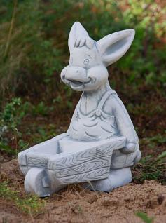 Steinfiguren Esel mit Schubkarre, Tierfigur aus Steinguss Schweine