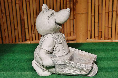 Steinfiguren Maulwurf mit Schubkarre, Figur aus Steinguss