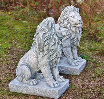 Steinfigur Löwenset, Zwei Löwen aus Steinguss, 40 cm hoch - Vorschau 2