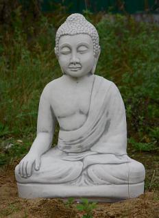 Steinfiguren Sitzender Buddha, Figur aus Steinguss