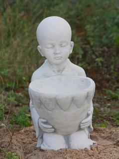 Steinfiguren Mönch mit Schale zum bepflanzen, Figur aus Steinguss