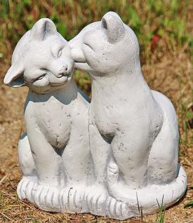 Steinfigur Zwei Katzen, Figur aus Steinguss Katzen