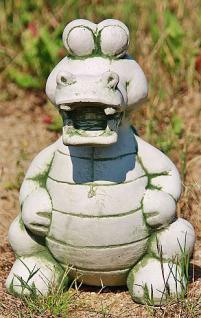Steinfigur Krokodil, lustige Tierfigur aus Steinguss, Reptil Echse Krokodile