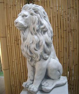 Steinfigur Löwe aus Steinguss mit Sockel frostfest 91 cm H Löwen - Vorschau 4