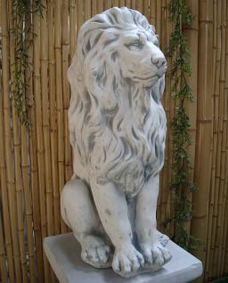 Steinfigur Löwe aus Steinguss mit Sockel frostfest 91 cm H Löwen - Vorschau 3