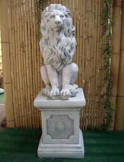 Steinfigur Löwe aus Steinguss mit Sockel frostfest 91 cm H Löwen - Vorschau 1