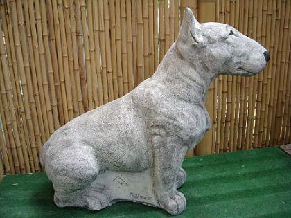 Skulptur Hund Bull Terrier, aus Steinguss Hunde