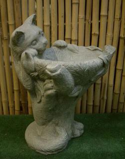 Steinfigur Vogeltränke Katze aus Steinguss Katzen