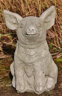 Steinfigur Schwein, Ferkel, Tierfigur aus Steinguss