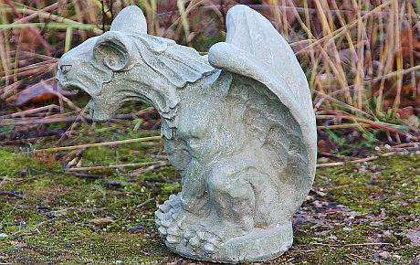 Steinfigur Gargoyle, Fantasyfigur aus Steinguss, Grotesque