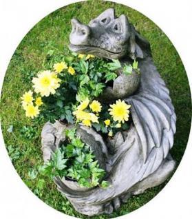 Steinfigur Pflanzdrache, Fantasyfigur aus Steinguss, bepflanzbar, Blumentopf, Drache