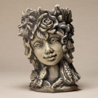 Steinfigur Blütentopf Sommer, Blumentopf aus Steinguss