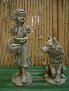 Steinfigur Rotkäppchen und der Wolf, zwei (2) Figuren aus Steinguss, Set, Steinfigur