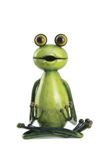 """Yoga Frosch, Haltung: """"Der Lotus"""", Figur aus Metall Frösche Kröte Guru"""