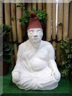 Steinfigur Zwuddha, der meditierende Gartenzwerg, Das Original mit handbemalter Mütze - Vorschau 2
