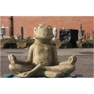 Steinfigur Großer Yoga Frosch, Tierfigur aus Steinguss