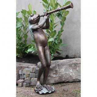 Bronzefigur Flötenspieler Frosch als Wasserspeier, Skulptur aus Bronze