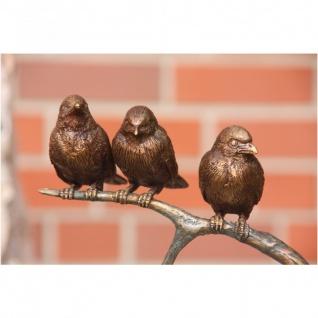 Bronzefigur Drei Vögel auf Ast, zur Innen- und Aussendekoration