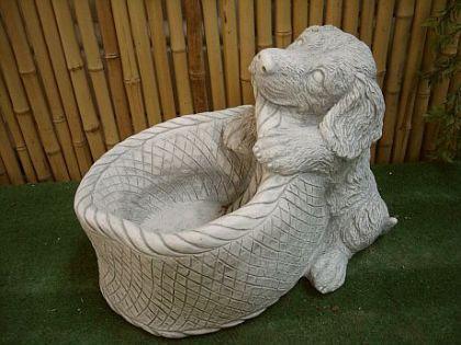 Steinfigur Hund mit Korb aus Steinguss Hunde Hunde Hunde cecc5b