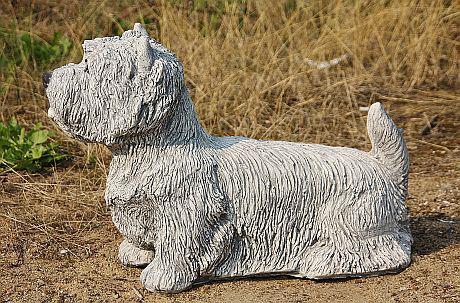Steinfigur Hund Westie, Tierfigur aus Steinguss, Steinguss, Steinguss, patiniert 6b3514