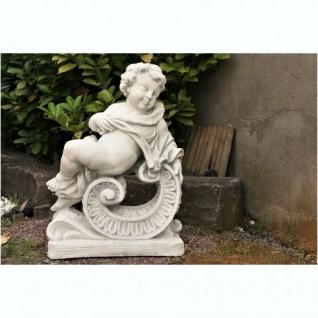 STEINFIGUR JAHRESZEIT WINTER PUTTE auf SOCKEL aus STEINGUSS GARTEN DEKO PO-1144