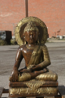 BUDDHA aus STEINGUSS für den GARTEN FROSTFEST FIGUR GOLD-BRAUN NEUHEIT ROP-277