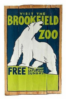 "RETRO HOLZ SCHILD "" VISIT THE BROOKFIELD ZOO"" BEMALTES HOLZSCHILD AH-SIGN40 BILD"