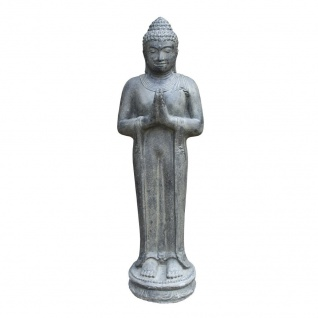 BUDDHA BEGRÜßUNG aus STEINGUSS GARTENDEKORATION FROSTFEST NEUHEIT KA-BR-BSG-100