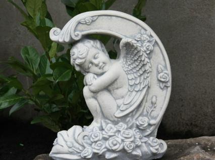 ENGEL auf ROSEN FIGUR aus STEINGUSS FROSTFEST DEKORATION WEIHNACHTEN PO-898