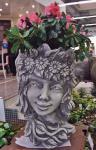 Steinfiguren Blütentopf Frühling, Blumentopf aus Steinguss