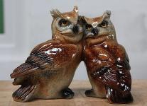 Tierfigur Eulenpaar, Greifvogel aus Kunststoff