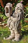Steinfigur Zwerg mit LampeWichtel/ Gnom für Garten & Terrasse