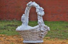 Steinfigur Pflanzkorb, Korb zum bepflanzen, aus Steinguss