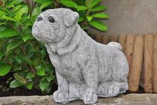 Tierfigur Mops, Hund aus Steinguss, Hunde, Hundefigur, Tierfigur
