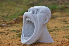 Steinfiguren Maske der Schrei aus Steinguss für Dekoration