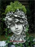 Steinfigur Blütentopf Wildröslein, Blumentopf aus Steinguss, Pflanzkübel