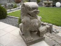 Steinfigur Tempel Löwe, Figur aus Steinguss, zur Dekoration