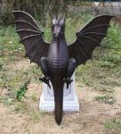 Bronzefigur Wasserspeier Drache, Fantasyfigur aus Bronze