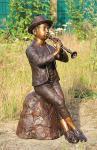 Bronzefigur Wasserspeier Flötenspieler, 80 cm hoch, Skulptur aus Bronze, Junge Jungen Bronzeskulptur