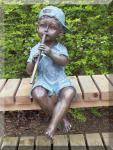 Bronzefigur Flötenspieler Junge, Figur aus Bronze