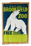 """Retro Holz Schild """"Visit the Brookfield Zoo"""", bemaltes Holzschild für drinnen & draussen"""