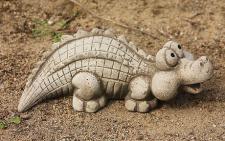 Steinfigur Krokodil Witzig, lustige Tierfigur aus Steinguss, Reptil Echse Krokodile