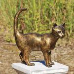 Bronzefigur stehende Katze, Tierfigur aus Bronze, Katzen