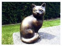 Bronzefiguren Katze, sitzend, Figur aus Bronze, Gartendekoration Katzen