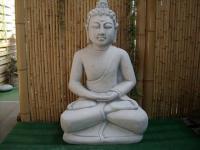 Steinfigur Buddha, Figur aus Steinguss