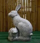 Steinfigur Zwei Hasen, Tierfigur aus Steinguss Hase Kaninchen Karnickel