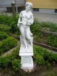 Steinfigur Jahreszeit Sommer auf Sockel, Skulptur aus Seinguss, Zwei (2) Teile