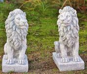 Steinfigur Löwenset, Zwei Löwen aus Steinguss, 40 cm hoch