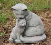 """Steinfigur """" Katze mit Junges """", Tierfigur aus Steinguss Katzen Stubentiger"""