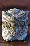 Steinfigur Eule, Tierfigur aus Granit, Vogel, Kauz, Uhu